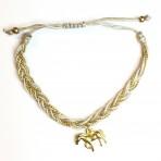 Bracelet gris cheval doré