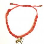 Bracelet rouge cheval doré